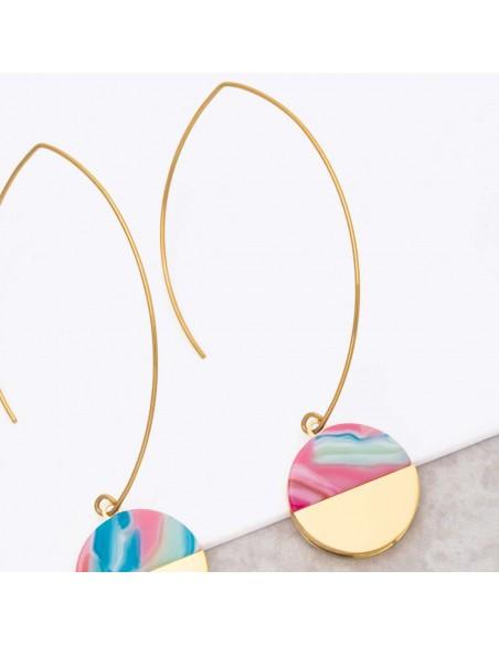 Bijoux boucle d'oreille Menthe À l'O URUKA Color Gold créoles pendantes acier doré Bijoux Sauvages
