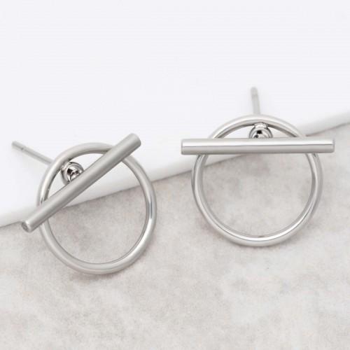 JUPITER Silver minimalist stud...