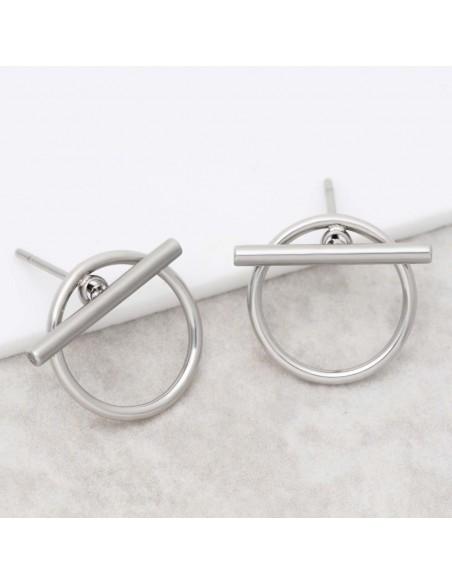 Bijoux boucle d'oreille Menthe À l'O JUPITER Silver acier inoxydable argent puce Bijoux Sauvages