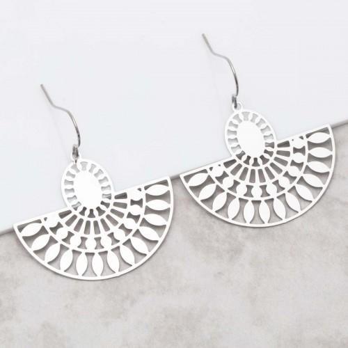 Bijoux boucle d'oreille Menthe À l'O MADI Silver pendantes acier inoxydable argent symbole ethnique Bijoux Sauvages
