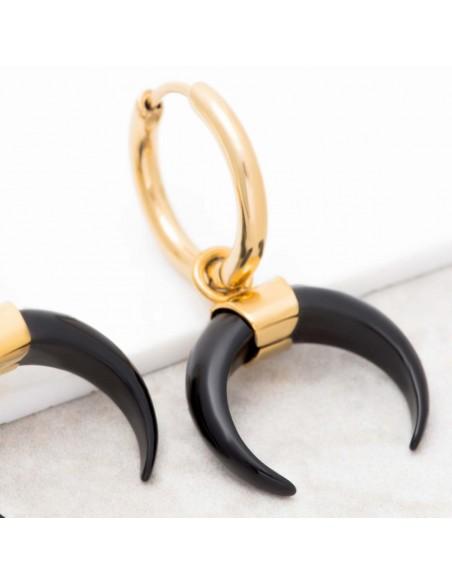 Bijoux boucle d'oreille minimaliste Menthe À l'O LUNIS Gold & Black acier inoxydable doré onyx puce Bijoux Sauvages
