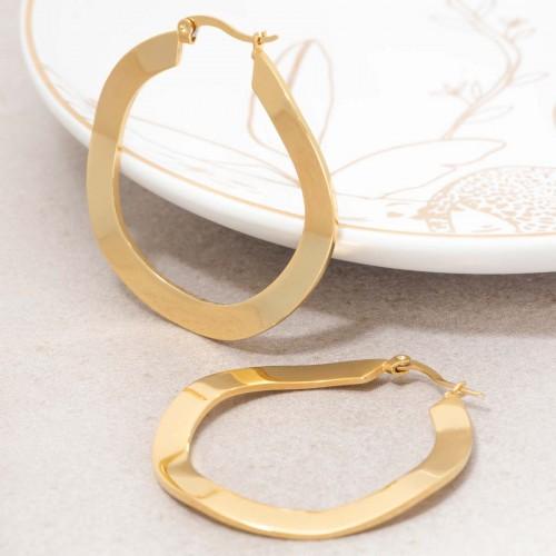 ONDOLA Gold hoop earrings wavy golden...