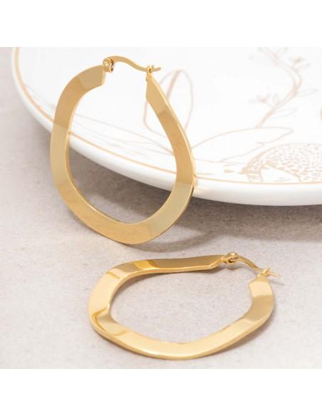 Bijoux boucle d'oreille Menthe À l'O ONDOLA Gold créoles acier inoxydable doré ondulé Bijoux Sauvages