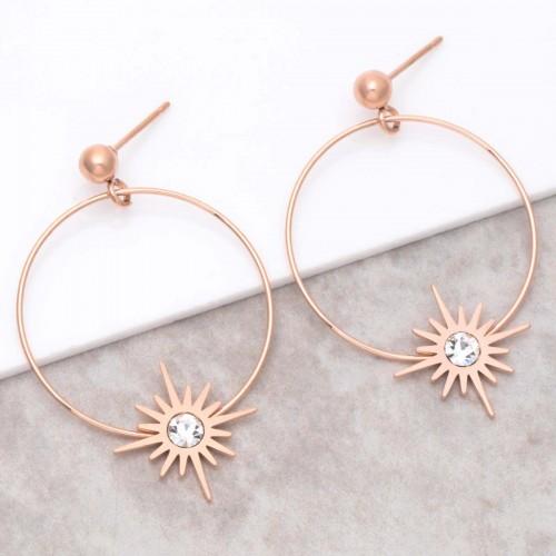 Bijoux boucle d'oreille Menthe À l'O STELLA Pink Gold  créoles pendantes acier inoxydable rosé symbole étoile Bijoux Sauvages