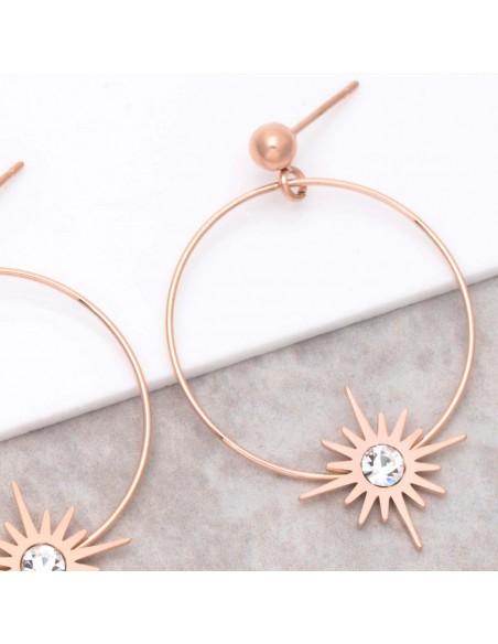 Bijoux boucle d'oreille Menthe À l'O STELLA Pink Gold  créoles pendantes acier inoxydable rosé symbole étoile de cristal
