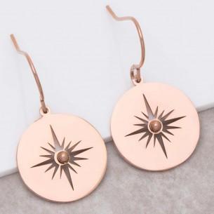 Bijoux boucle d'oreille Menthe À l'O SIGNA Pink Gold pendantes acier inoxydable rosé symbole étoile ajourée Bijoux Sauvages
