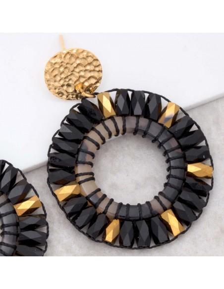Bijoux boucle d'oreille Menthe À l'O CRYSTALS VALLEY STEEL Gold  pendantes acier inoxydable doré cristaux brodés Bijoux Sauvages