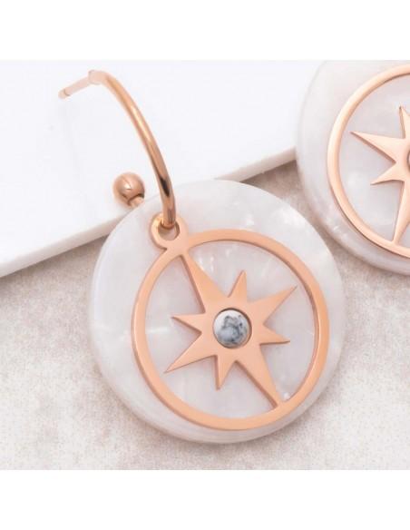 Bijoux boucle d'oreille Menthe À l'O ESTELLA White Pink Gold créoles pendantes acier symbole étoile rosé Bijoux Sauvages