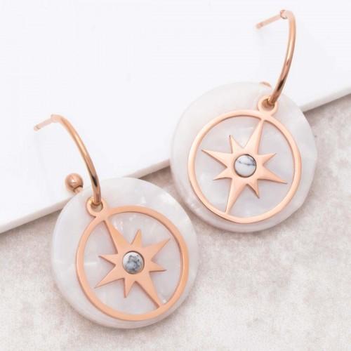 ESTELLA White Pink Gold pendant hoop...