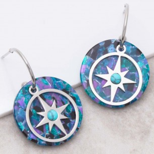Bijoux boucle d'oreille Menthe À l'O ESTELLA Blue Silver créoles turquoise pendantes acier symbole étoile argent Bijoux