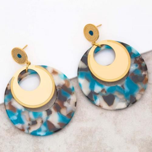 Bijoux boucle d'oreille Menthe À l'O LOLA Blue Gold pendantes acier doré Bijoux Sauvages