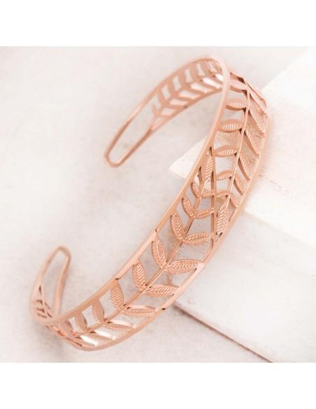 Bijoux bracelet manchette LEAF pink Gold Menthe À l'O acier inoxydable rosé feuillage nature Bijoux Sauvages