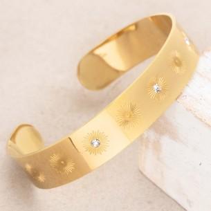 Bijoux bracelet manchette SOLSTICE Gold Menthe À l'O acier inoxydable doré cristal symbole solaire Bijoux Sauvages