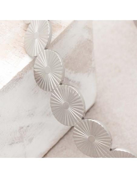 Bijoux bracelet jonc MAERANE Silver Menthe À l'O acier inoxydable argent symbole solaire Bijoux Sauvages