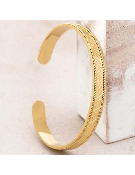Bijoux bracelet jonc CLEO Gold Menthe À l'O acier inoxydable doré symbole ethnique Bijoux Sauvages
