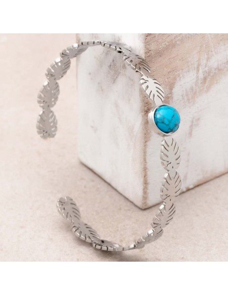 Bijoux bracelet jonc JANGO Turquoise Silver Menthe À l'O acier inoxydable argent feuillage nature Bijoux Sauvages