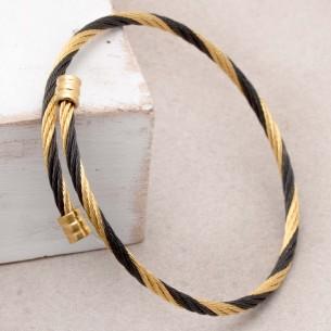 Bijoux bracelet jonc REHINE black gold Menthe À l'O acier inoxydable doré noir torsadé souple Bijoux Sauvages