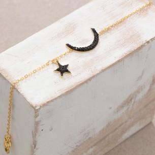 Bijoux bracelet fin STARMOON Black Gold bracelet Menthe À l'O acier inoxydable doré cristal symbole astral lunaire Bijoux Sauv