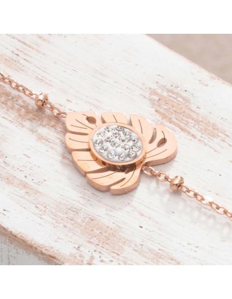 Bijoux bracelet fin PALMAS Pink Gold bracelet Menthe À l'O acier inoxydable rosé cristal feuille nature Bijoux Sauvage