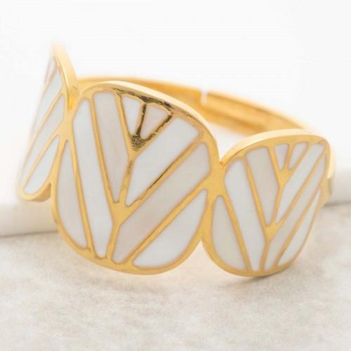 Bijoux bague minimaliste DALIS white Gold Menthe À l'O réglable acier inoxydable doré émaux Blanc Bijoux Sauvages