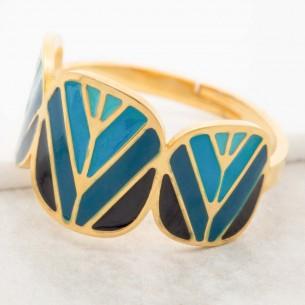 Bijoux bague minimaliste DALIS Blue Gold Menthe À l'O réglable acier inoxydable doré émaux bleu Bijoux Sauvages