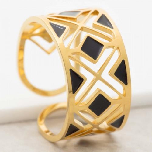 Bijoux bague minimaliste MODAMIA Black Gold  Menthe À l'O réglable acier inoxydable doré ajouré noir Bijoux Sauvages
