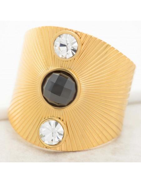 Bijoux bague DEMITIS black Gold Menthe À l'O cabochon réglable acier inoxydable solaire doré cristal noir Bijoux Sauvages