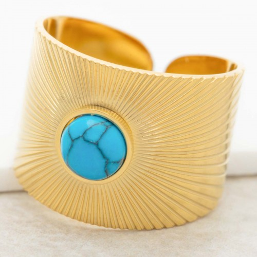 Bijoux bague MOARA Turquoise Gold Menthe À l'O cabochon réglable acier inoxydable solaire doré Bijoux Sauvages