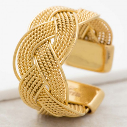 NATANE Gold adjustable bangle ring...