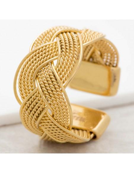 Bijoux bague NATANE Gold Menthe À l'O jonc réglable acier inoxydable tresse doré Bijoux Sauvages