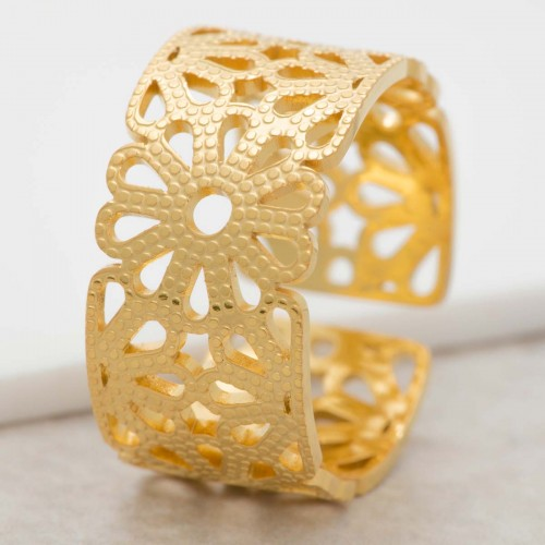 SPRING Gold floral adjustable bangle...