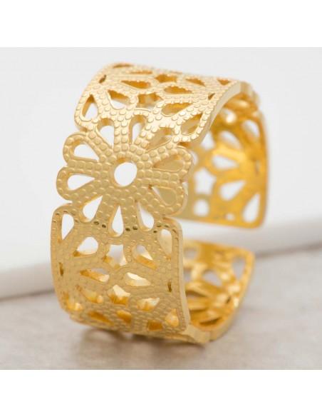 Bijoux bague SPRING Gold Menthe À l'O jonc réglable acier inoxydable floral doré Bijoux Sauvages