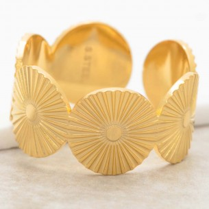 Bijoux bague MAERANE Gold Menthe À l'O jonc réglable acier inoxydable doré symbole solaire Bijoux Sauvages