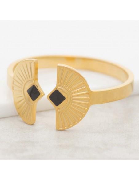 Bijoux bague minimaliste NEFER Black Gold  Menthe À l'O réglable acier inoxydable doré émaux noir Bijoux Sauvages
