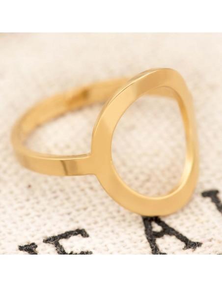 Bijoux bague OLEA Gold Menthe À l'O jonc réglable acier inoxydable doré anneau ajouré Bijoux Sauvages