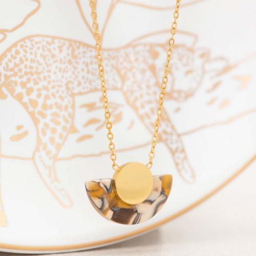Bijoux collier minimaliste fin court SUNSET Gold Menthe À l'O acier inoxydable doré jaune moutarde Bijoux Sauvages