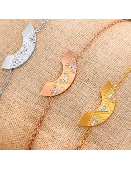 Bijoux bracelet GALVA  Menthe À l'O fin  acier inoxydable doré argent cristal Bijoux Sauvages