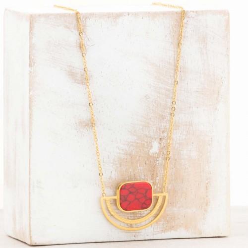 KERONE Red Gold minimalist short...