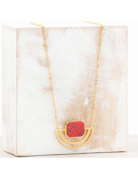 Bijoux collier minimaliste fin court KERONE Red Gold Menthe À l'O acier inoxydable doré jaspe rouge corail Bijoux Sauvages