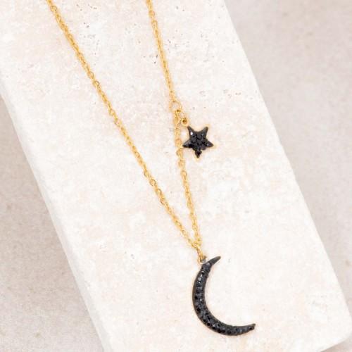 Bijoux collier étoile lune fin court STARMOON Black Gold Menthe À l'O acier inoxydable doré cristaux noir Bijoux Sauvages