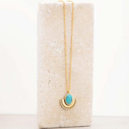 Bijoux collier Ethnique fin court NAELI Blue Gold Menthe À l'O acier inoxydable doré bleu Turquoise Bijoux Sauvages