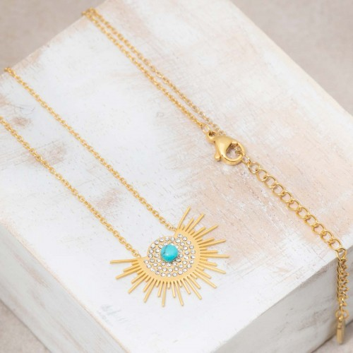 ASOL Blue Gold short necklace solar...