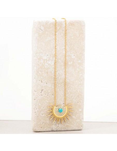 Bijoux collier solaire fin court ASOL Blue Gold Menthe À l'O acier inoxydable doré bleu Turquoise Bijoux Sauvages