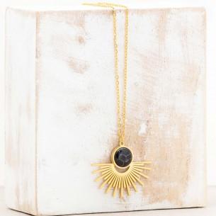 Bijoux collier solaire fin court EKIS Black Gold Menthe À l'O acier inoxydable doré onyx noir Bijoux Sauvages