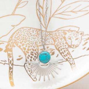 Bijoux collier solaire fin court EKIS Bleu Gold Menthe À l'O acier inoxydable doré Turquoise Bijoux Sauvages