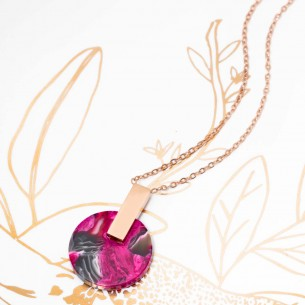 Bijoux collier fin court PIECE OF STONE Pink Gold Menthe À l'O acier inoxydable doré résine framboise Bijoux Sauvages