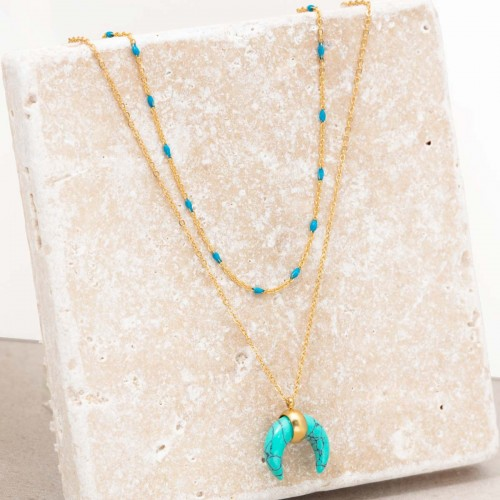 MOONTIS Blue Gold Necklace Multi-row...