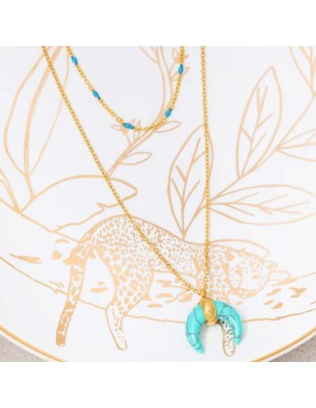 Bijoux collier Ethnique fin Multi-rangs MOONTIS Blue Gold Menthe À l'O acier inoxydable doré bleu Turquoise Bijoux Sauvages