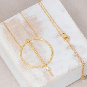 Bijoux collier minimaliste fin mi-long JUPITER Gold Menthe À l'O acier inoxydable doré cristal Bijoux Sauvages