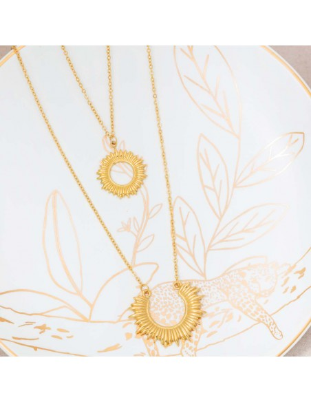 Bijoux collier multi-rangs Ethnique symbole solaire  SUNTWICE Gold Menthe À l'O acier inoxydable doré Bijoux Sauvages